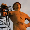 Standing tall over the Tulsa Fairgrounds and Route 66, the Golden Driller has been a symbol of Tulsa's rich oil history for over half a century since 1966.