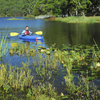 The 80-acre Clayton Lake is a quiet, peaceful place for a kayak ride.
