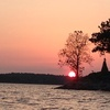 A rosy sunset graces Patricia Island at Grand Lake in northeast Oklahoma.