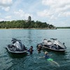 Jet skiing in front of Tucker Tower at Lake Murray is a popular activity. The water is so blue, you'll want to spend your entire vacation at Lake Murray State Park swimming and having fun in the lake.