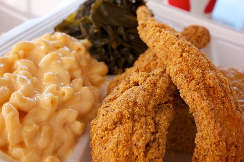 Fried catfish and classic sides at Evelyn's in Tulsa