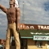 A Native American Muffler Man greets visitors to Indian Trading Post & Art in Calumet.