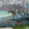 "Cha' Tullis painted this eight-part ""Majestic"" mural series in Hominy, the ""City of Murals."""