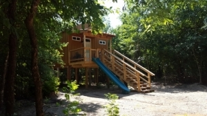 Make a quick getaway off the rocket slide at Rock Creek Retreat.
