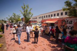 A sea of food trucks land at Guthrie Green, a food truck park in the heart of downtown Tulsa.