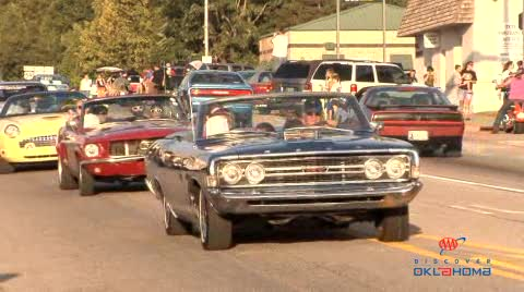 Vintage and classic cars cruise the streets of Jay.