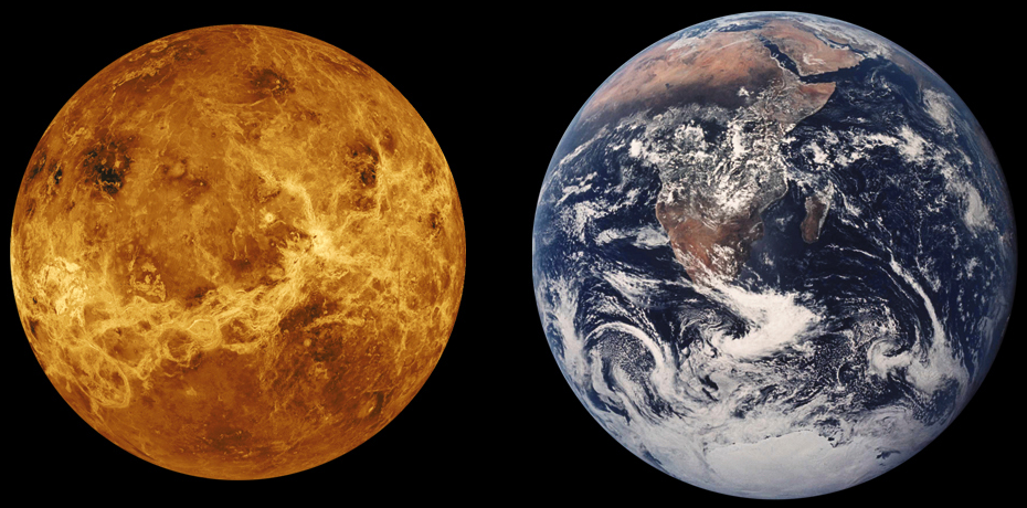 Venus_Earth_Comparison.pngthick, extremely hot (500 deg.C)