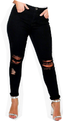 Outfit casual - Asesoría de imagen ejecutiva - boohoo Plus Abbi Ripped Knee Stretch Skinny Jean - Boohoo - BooHoo