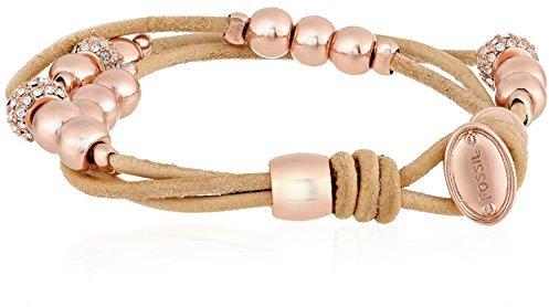 Asesoría de imagen ejecutiva - Fossil Multi Strand Rose Gold Tone and Nude Leather Bracelet - Fossil - Amazon.com