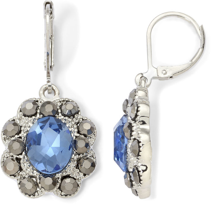 outfit para boda - Asesoría de imagen ejecutiva - MONET JEWELRY Monet Blue Glass & Marcasite Drop Earrings - Creativity For Kids - jcpenney