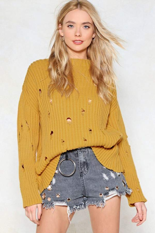 Outfit bohemio - Asesoría de imagen ejecutiva - Nasty Gal Prove Knit Distressed Sweater - Nasty Gal - Nasty Gal