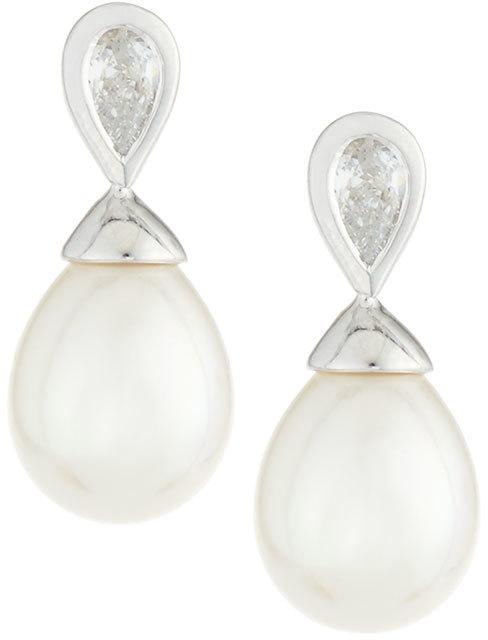 Outfit para oficina - Asesoría de imagen ejecutiva - Majorica Pearl & Crystal Drop Earrings, 7mm - Majorica - Last Call by Neiman Marcus