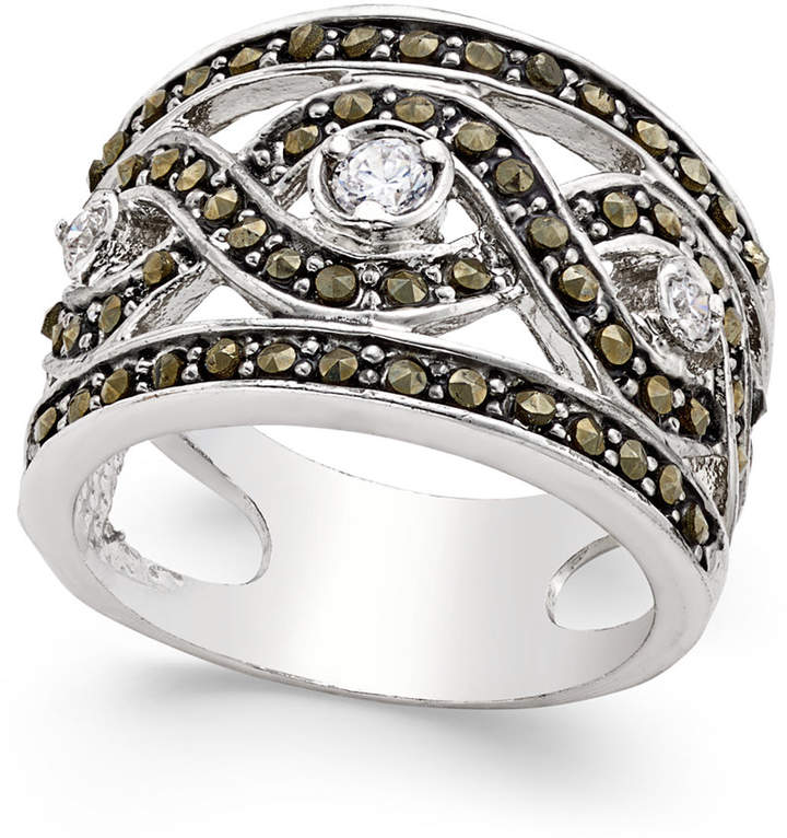 Outfit para cita - Asesoría de imagen ejecutiva - INC International Concepts INC International Concepts Silver-Tone Crystal Braided Statement Ring, Only at Macy's - INC International Concepts - Macy's