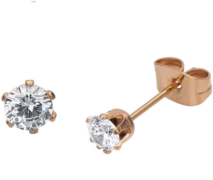 Outfit para oficina - Asesoría de imagen ejecutiva - FINE JEWELRY Cubic Zirconia 3mm Stainless Steel and Rose-Tone IP Stud Earrings - Creativity For Kids - jcpenney