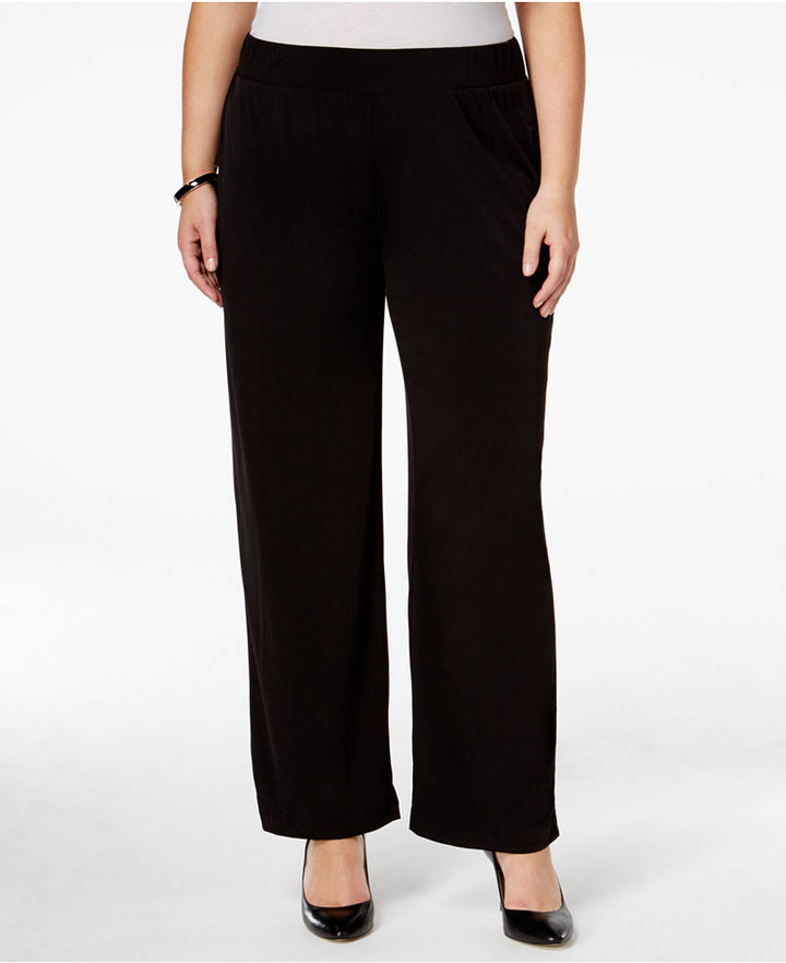 Outfit para gorditas - Asesoría de imagen ejecutiva - NY Collection NY Collection Plus Size Pull-On Straight-Leg Pants - NY Collection - Macy's