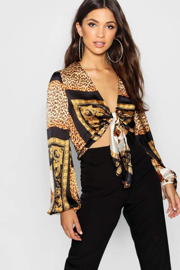 Outfit casual - Asesoría de imagen ejecutiva - boohoo Chain Leopard Print Tie Front Top - Boohoo - BooHoo