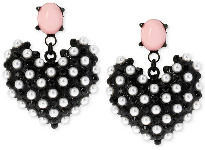Outfit para discoteca - Asesoría de imagen ejecutiva - Betsey Johnson Betsey Johnson Black-Tone Imitation Pearl Heart Earrings - Betsey Johnson - Macy's