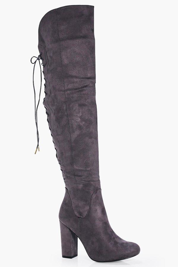 Outfit para cita - Asesoría de imagen ejecutiva - boohoo Lace Back Block Heel Over The Knee Boots - Boohoo - BooHoo