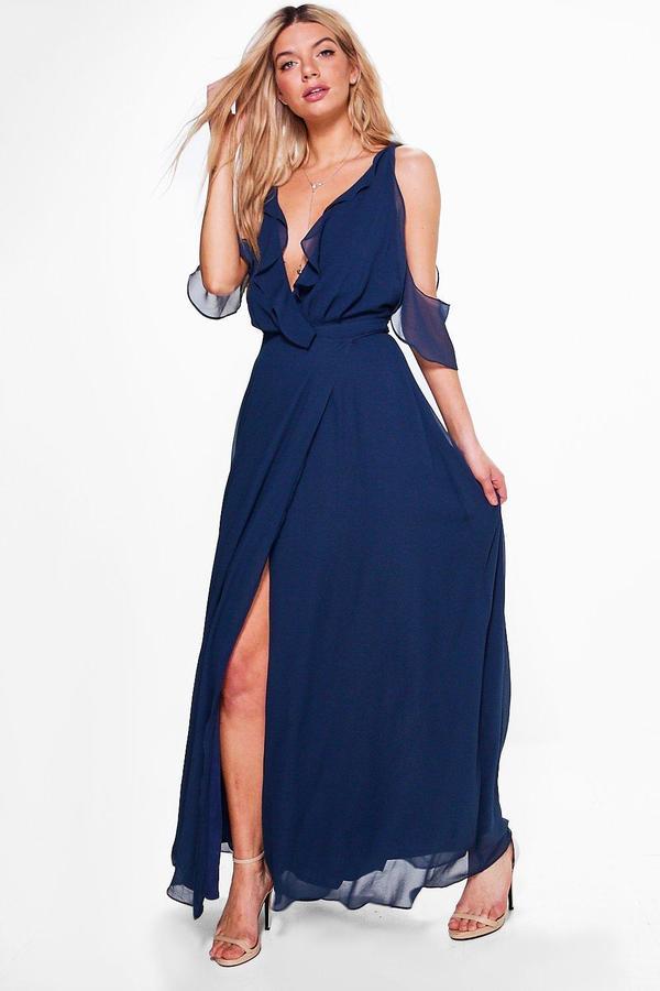 outfit para boda - Asesoría de imagen ejecutiva - boohoo Boutique Chiffon Frill Wrap Maxi Dress - Boohoo - BooHoo