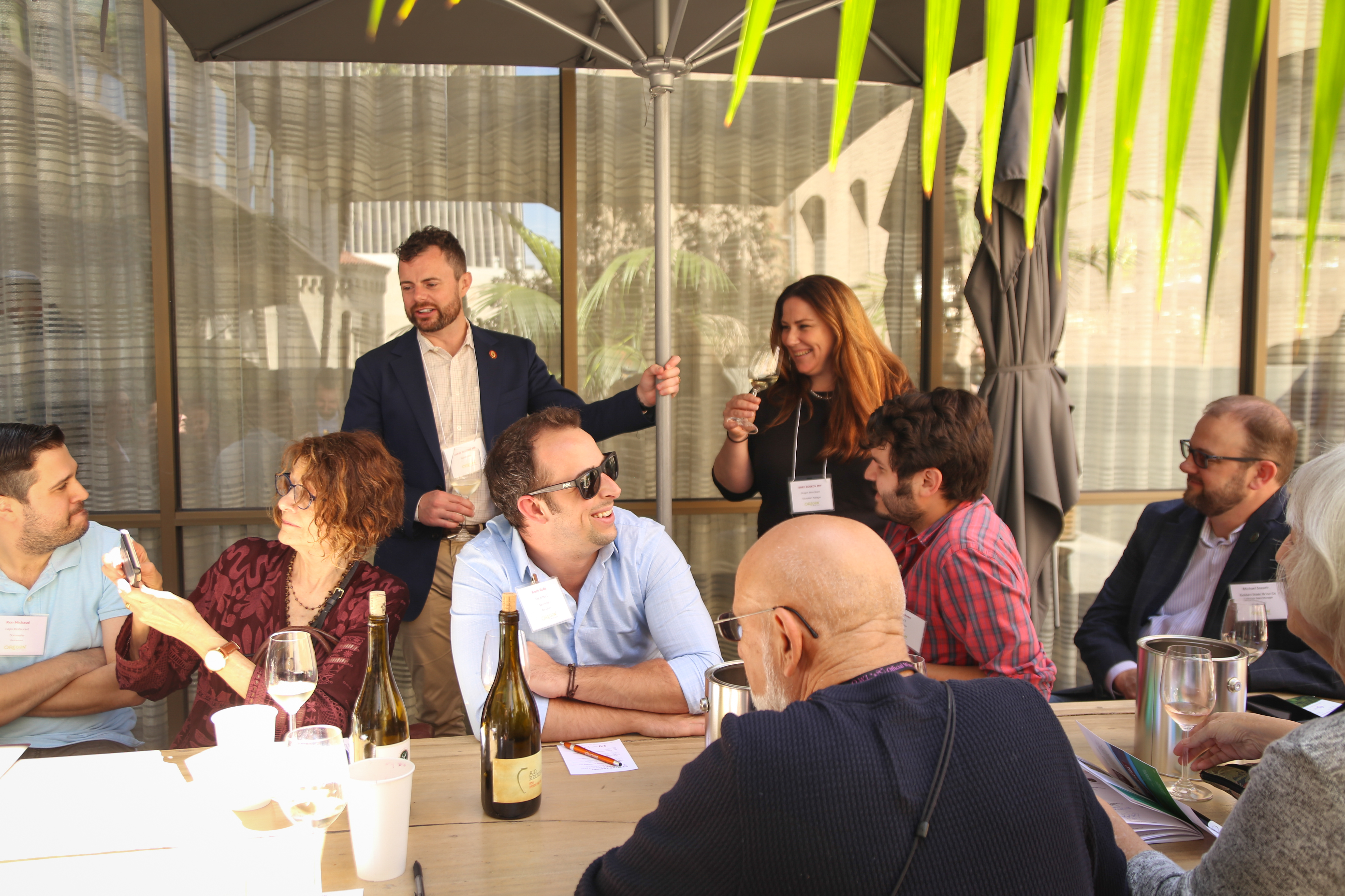Group wine tasting outside