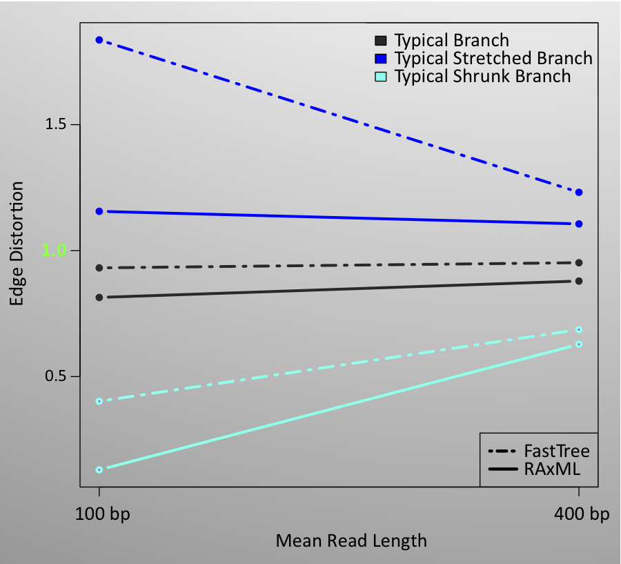 The typical distortion of a branch improves greatly if the tree is computed from 400bp reads, rather than from 100bp reads.