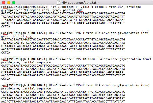 4 HIV Sequences in FASTA format