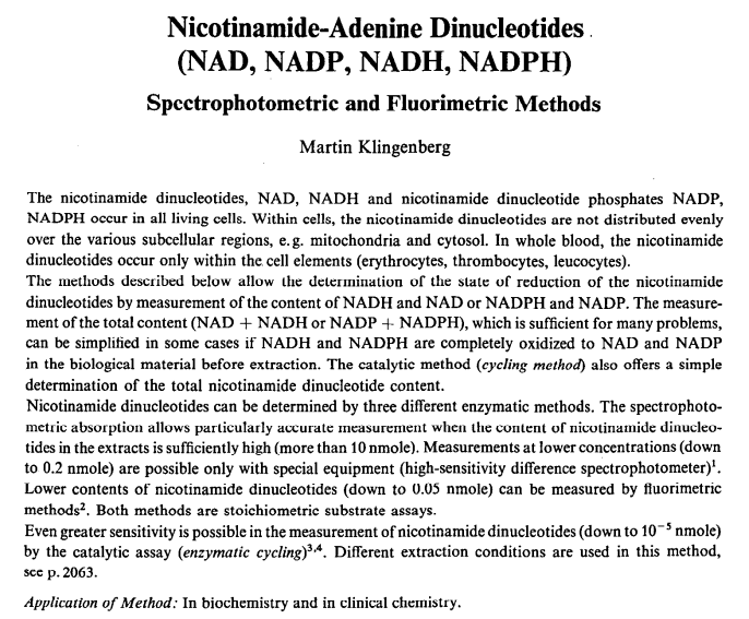 From the 1974 paper: Nicotinamide-Adenine Dinucleotides (NAD, NADP, NADH, NADPH) Spectrophotometric and Fluorimetric Methods.  Klingenberg, Martin.  Volume 4 (1974), pg2045, retreived from UW library scan 2/2014 JM