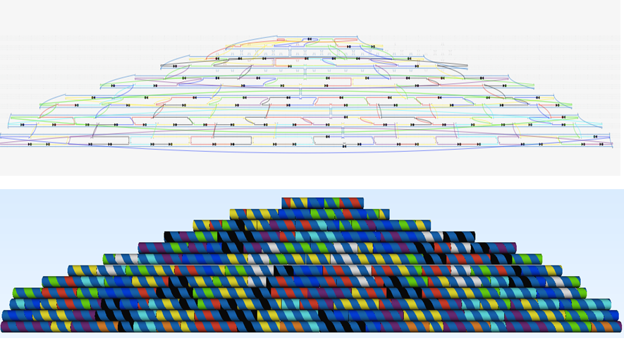 Fig. 7. The dome structure designed in caDNAno (top). The structure is composed of the 7249 bases long M13mp18, shown with medium blue in this figure. Staple strands to help the structure fold correctly are shown in all others colors. The caDNAno design as plug-in to Autodesk Maya depicting the dome (bottom).
