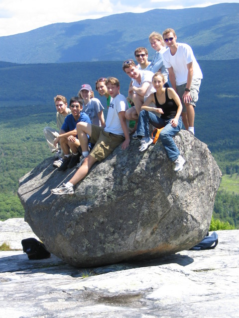 From left to right, top to bottom, Sean Clarke, Austin Che, Heather Keller, Samantha Sutton, Josh Michener, Barry Canton, Ty Thomson, Jennifer Braff (front), Jessica Harpole (rear), Ilya Sytchev, large glacial deposit.