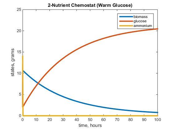 2-Nutrient Chemostat (Warm_Glucose using 1/0.05 as F)