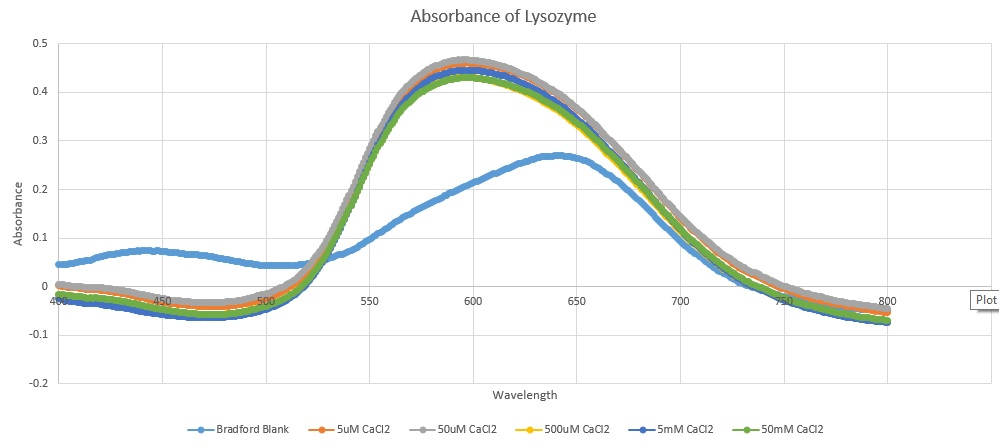 Graph plotting Absorbance of Lysozyme at differing Wavelengths