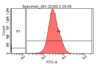Histogram of raw GFP fluorescence/cell for I20260 cells, showing copied gates.