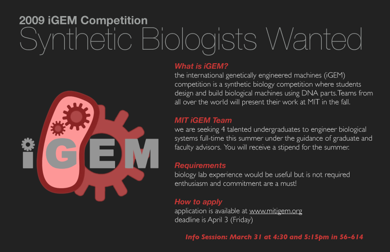 Image:MIT iGEM 2009 recruitment flyer.png