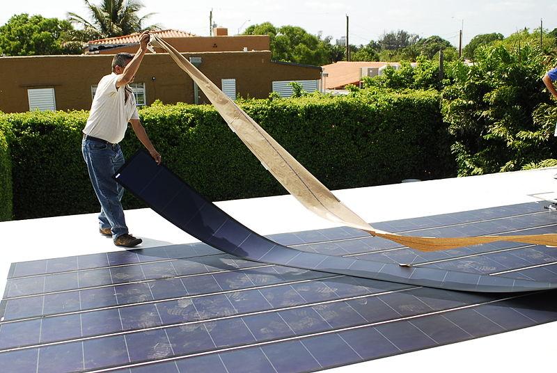 800px-Thin Film Flexible Solar PV Installation 2.JPG