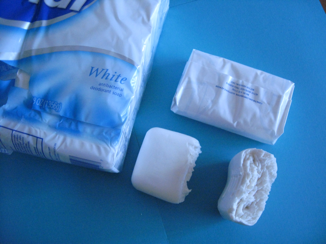 sample of soap packaging and damage