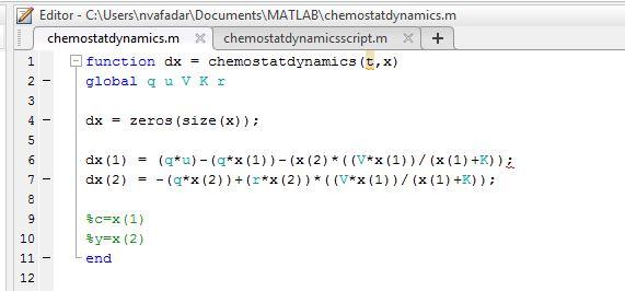 Chemostat Dynamics Function