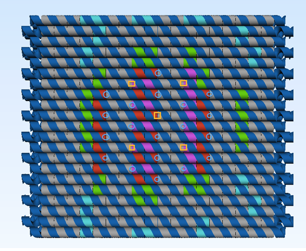 Figure 5. The final design of the origami plate, Sites where cholesterols (blue circles) and photosensitizers (orange squares) will be attached are indicated. the sisiRNA-conjugate attachment sites are colored red and magenta, while the cyan colored staple are where the peptide locks are situated. Image made in Maya® from Autodesk and modified in PS5.