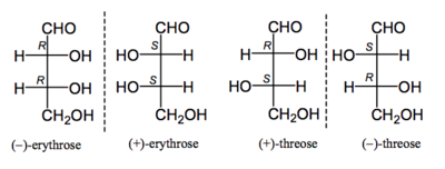 Scheme 12: Fischer Projections of Erythrose and Threose