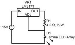 Current feedback to the adjust pin of the LM317T variable voltage regulator provides a steady source of illumination. (Note that 4.2Ω should read 4.3Ω)