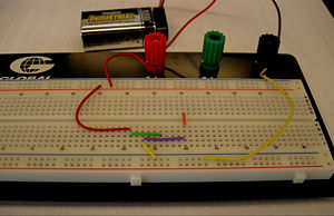 Example showing breadboard connections.