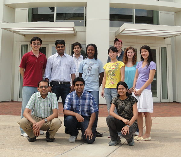 Lab members in Kim Building Courtyard, Summer 2010. Standing, from left: Xiaofeng, Ganesh, Ali, Whitney, Yuting, Alex, Maggie, Elena. Kneeling, from left: Ashish, Tabish, Shilpa. Absent: Emily, Mandana. Click for higher resolution.