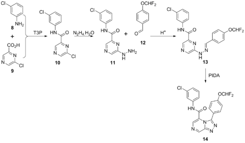 Synthetic route to amide.