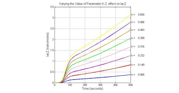Fig.5 Varying the Value of Parameter K-2 effect on lacZ