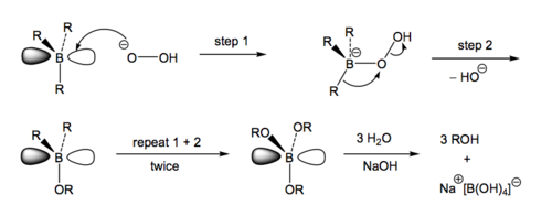 Scheme 6: Mechanism of Conversion of Boronation Product to Alcohol