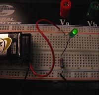 Basic LED circuit built on breadboard.