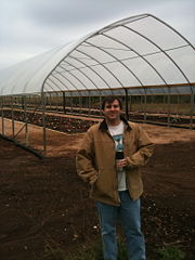 Tom Juenger (UT Austin) in front of a rainout shelter at Lady Bird Johnson Wildflower Center