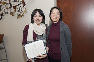 Xian getting the poster award at COP Research Day (March 2014)