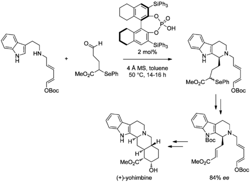 Scheme (Hiemstra 2011). Enantioselective PS Reaction in the Total Synthesis of (+)-Yohimbine