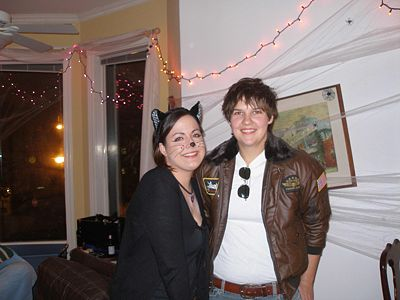Halloween with Kari Barlan (in flight jacket) and Peggy McMahon (cat)