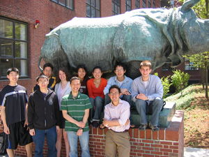Harvard 2006 iGem team.  Back row (L-R): Lewis, Katie, Tiffany, Valerie, Zhipeng, Matt.  Front row (L-R): Hetmann, Jeffrey, David, Perry.  And yes, that is the back end of a bronze rhinoceros.